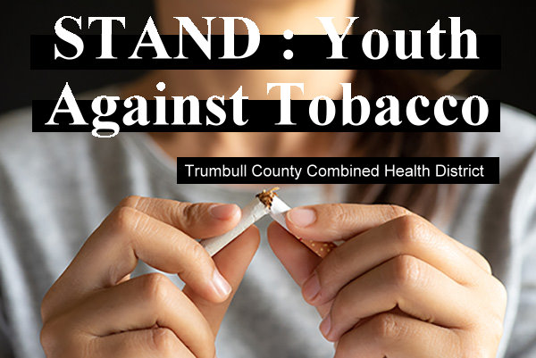 Stand: Youth Against Tobacco logo with girl breaking cigarette.